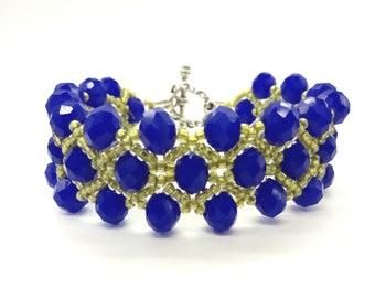 Blue beadwork bracelet Womens three strand crystal beaded bracelet Elegant evening bracelet with toggle clasp Beadwoven jewelry in gift