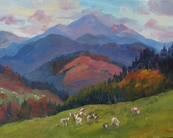 Аutumn Mountains, Mountain peak, Landscape, Golden autumn, Carpathian Mountains, Original painting, Canvas Painting, Oil art by Anna Trachuk