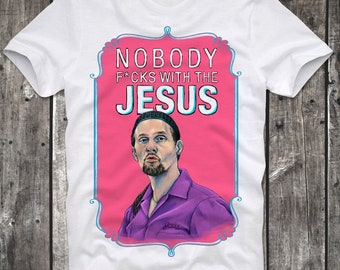 T-Shirt The Big Lebowski Jesus Bowling Dude Walter Mark it Zero Cult Movie Distressed Retro Vintage
