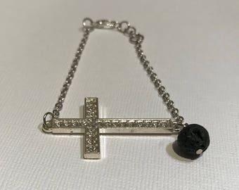 Silver bracelet, chain bracelet, cross bracelet, essential oil, lava stone jewelry, lava bead jewelry, adustable bracelet, aromatherapy