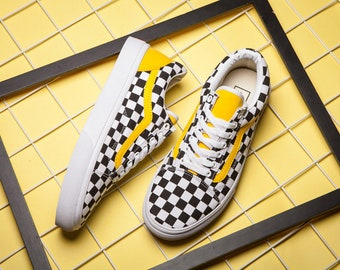 Custom Vans Yellow/Checkerboard