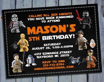 Lego Star Wars Invitation, Lego Star War Birthday, Lego Party, Lego Invites, Card Invite, Printable Digital, Personalized Invitations