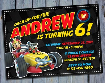 Mickey and the Roadster Racers Birthday Invitation, Mickey Mouse Party Card Invite, Racer Printable Digital Invitations, Custom Printables