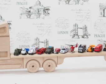 Wooden shelf for cars and toys