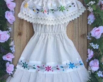 Mexican embroidered child dress size 3T-4T boho peasant off the shoulder cowgirl style mexican birthday dress