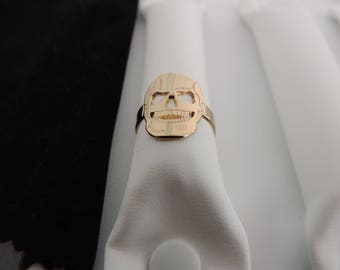 gold plated skull ring