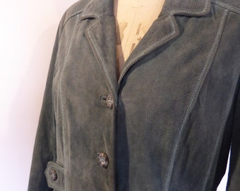 Women's, Vintage, Suede Jacket, Size 14, Fully Lined, Green, Wallace Sacks.