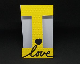 G, H, I, Monogram card letter card with Name