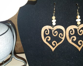 Whole Curly Heart - Handcrafted Wood w/Hand beading