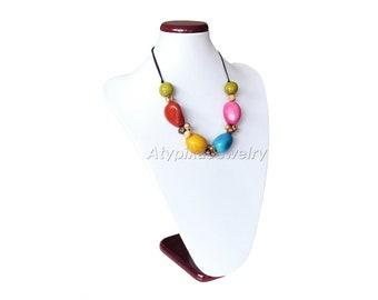 Necklace multicolor Tagua - customizable colors