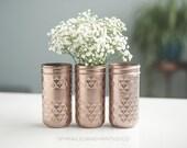 Rose Gold Vases, Rose Gold Organizing Jars, Rose Gold Wedding Decor
