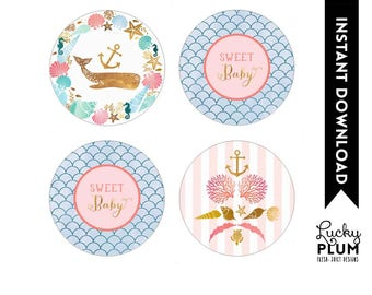 Whale Cupcake Toppers / Whale Round Labels / Nautical Cupcake Toppers / Nautical Round Labels / Ocean Shells *Digital Printable WH03