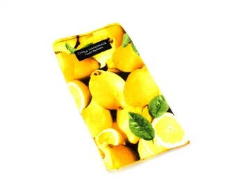Lemon fruit fabric Eyeglass Reader Case. Multi-functions as a checkbook case or cell phone pouch.