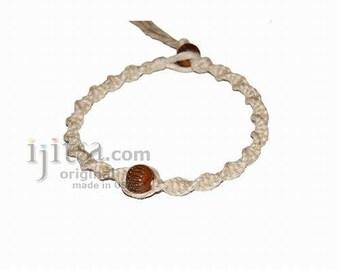 Natural twisted hemp bracelet or anklet with brown bone bead