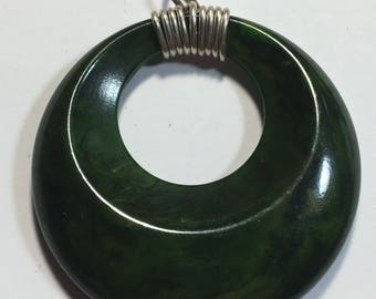 Pendant made fron Vintage Marbled Green Bakelite Hoop Piece