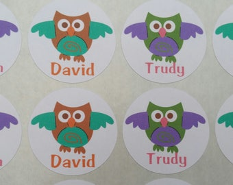 Personalized Owl Stickers for Back to School, Name labels, cards, etc set of 20 up to 4 names