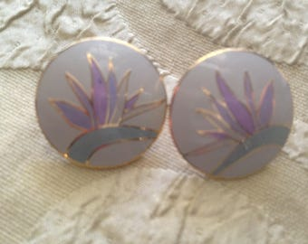 Laurel Burch Bird Of Paradise Post Earrings Cloisonné Art Jewelry Vintage Piece Signed Gray Mint Green Lilac Gold