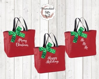 Christmas Gift Bag, Embroidered Merry Christmas, HoHoHo, Seasons Greetings, Happy Holidays Tote