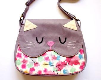Crossbody Sling Bag, KITTY CAT Purse, Cat Bag, Cat Theme, Cat Merchandise Design, Cat Sling Purse, Kids Sling Bag - Vintage Sakura Kimono