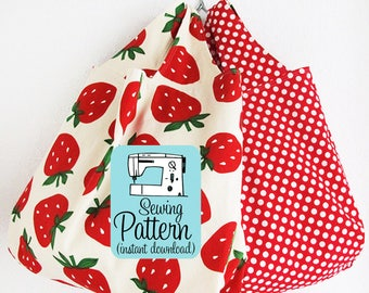 Grocery Bag PDF Sewing Pattern | Instant download sewing project to make machine washable farmers market grocery shopping tote bag.