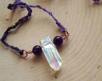 Arcanity: Portulaca Necklace - Angel Quartz with Amethyst beads, copper, textured handspun yarn