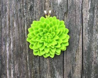 Resin Mum Flower Pendant - Lime Green