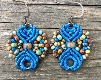 Micro-Macrame Earrings - Blue Picasso