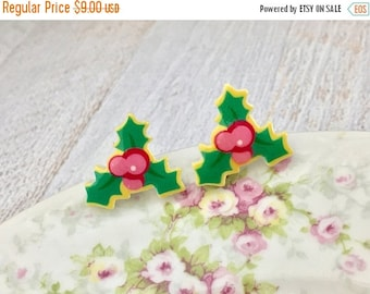 Christmas in July SALE. Pretty Large Christmas Holly with Berries Stud Earrings in Pink Green Yellow with Surgical Steel Posts