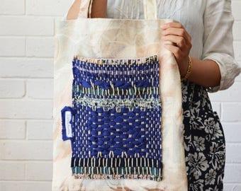 Indigo Boho Blue Weaving Striped Shoulder Tote Large Pocket patchwork Fabric Upcycled Bag Wabi sabi - August Maximum