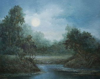 Moonlight Sonata, Original Acrylic, Tonalist Painting,  Painting on canvas, by Griselda Tello