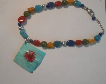 Multicolor Beaded Necklace Turquoise Red Yellow Shell Painted Pendant OOAK