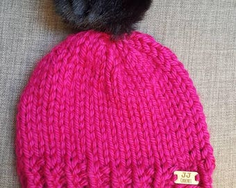 Bright Pink Knit Hat for Winter with Black Pom-Pom. Chunky Knit Beanie Hat for Women - Fuscia & Black