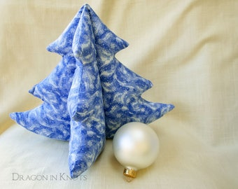 "Blue Christmas Tree - Medium 8"" or 9"" tall Freestanding Cloth Decor, 3D Tabletop Tree Centerpiece, white winter blizzard, xmas plush"