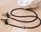 Napkin clips - Snowflake obsidian and Red bead black napkin chain