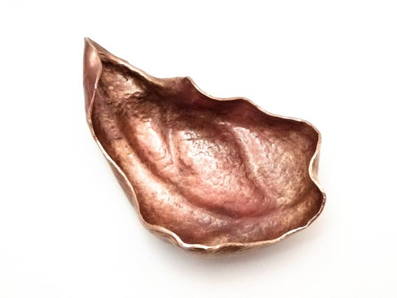 Hand hammered  bronze windblown leaf offering bowl ready for seeds, magic, incense, acorns, your nature table...