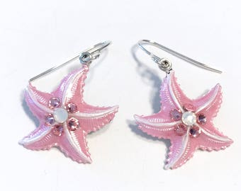 Starfish Earrings Iced Pearlized Pink and White with Crystal Accents