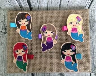 One Mermaid Planner Clip, One Mermaid Hair Clip, Felt Mermaid Hair Clip, Mermaid Feltie, Mermaid Clippee