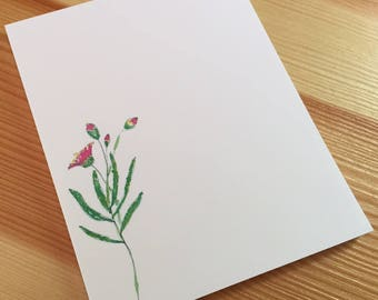 Wildflower Floral Notepad - Small Watercolor Pale Laurel Notepad - 4 x 5 Handmade Botanical Notepad - Gardener Gift - 40 Sheet Notepad