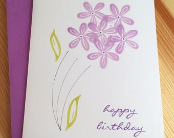 Floral Happy Birthday Card - Purple Flowers Birthday Card - Flower Bouquet Birthday Card - Hand Printed Birthday Card