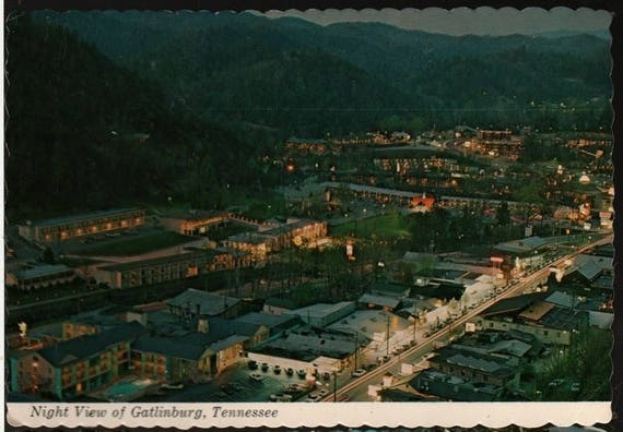 Night View of Gatlinburg, Tennessee – Vintage Souvenir Postcard