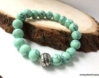 Turquoise Beaded Bracelet, Southwestern Style, Round Gemstones, Shiny Green, Sterling Silver, Stabilized Turquoise, One of a Kind Gift