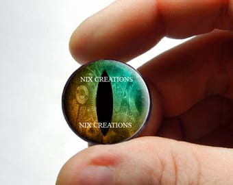 Glass Eyes - Steampunk Taxidermy Dragon Eyes 25mm 1 inch Copper / Green Cabochons - Pair or Single - You Choose Size