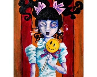 Original Oil Painting - June - lowbrow art by ela steel cute girl with smiley face lollipop and a black eye dark art underground schoolgirl