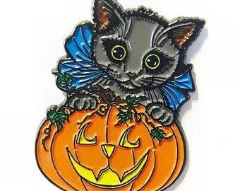 Halloween Black Cat Enamel Pin Fall Pumpkin Black Kitten Jackolantern Lapel Pin Badge Fantasy Cat Art Brooch Cat Lovers Art