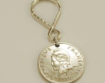 French Polynesia 1970 Coin Keychain