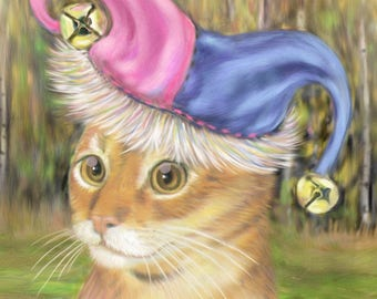 Cat art, Jester Cat Fine Art Print , Abyssinian Jester Cat , Siamese Cat art, Cat with a hat