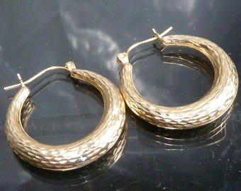 Big 10Kt Gold Hoops Earrings solid 10k hoop 1 1/4 inch