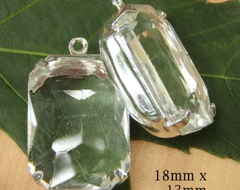 HALF PRICE SALE - Clear Glass Beads - 18x13 Octagon - Pendant or Earring Drops - Sheer Glass Gems - Cabochon - Jewelry Supply - One Pair
