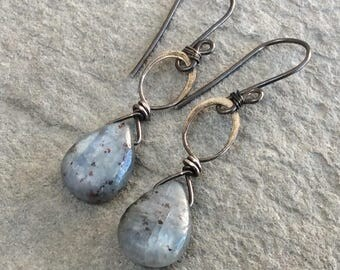 Blue KYANITE earrings, sterling silver, handmade artisan earrings, denim blue gemstone briolette