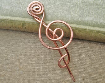 Treble Clef Copper Shawl Pin, Music Teacher Gift Scarf Pin, Sweater Brooch Copper Pin Music Note, Gifts for Musician Knitters Music Jewelry